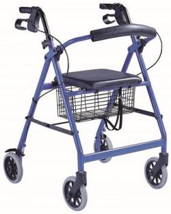 Diresa Device - FedBuy: Rollator Classic. Andador con ruedas y frenos para mayores. De aluminio. Con asiento. Color azul.