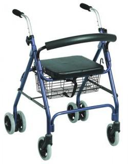 Diresa Device - FedBuy: Andador con ruedas para mayores. Rollator de aluminio con freno por presión. Asiento y cesta. Color azul