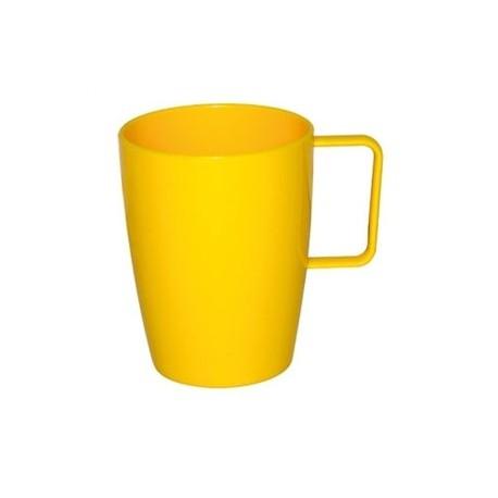 Taza de plástico irrompible | Color amarillo | 284 ml | Para comedor escolar, residencia o centro de día