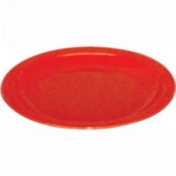 Plato de colores | Llano, de policarbonato | Irrompible | Color rojo | Vajilla para residencia de ancianos y centro de día