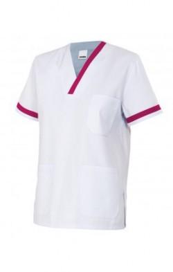 Casaca sanitaria blanca cuello pico con vivo contraste en manga y cuello