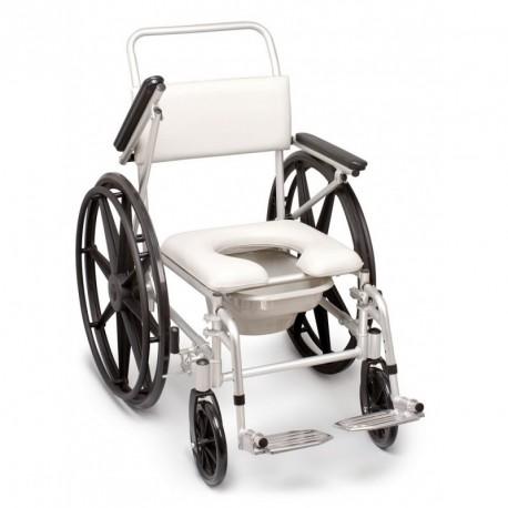 Silla de ruedas para ducha y váter | Con cubeta | Ruedas grandes para autopropulsión | Accesibilidad con FedBuy