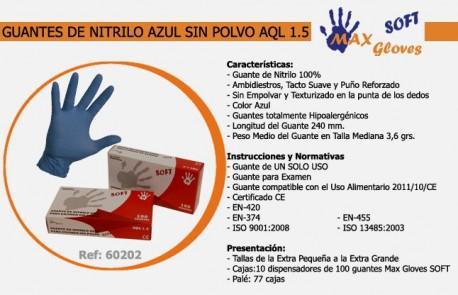 Guantes de Nitrilo Azul   3 gramos   Uso sanitario   Para alérgicos al látex   Diresa Device - FedBuy