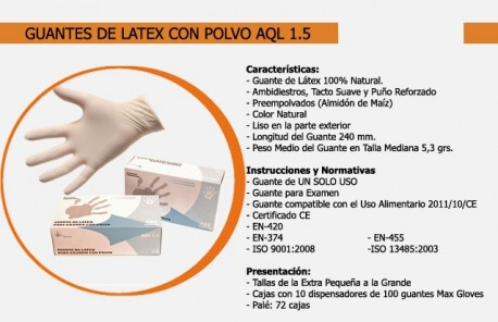 Guante de Látex con polvo | Uso sanitario | Desechables | Diresa Device - FedBuy