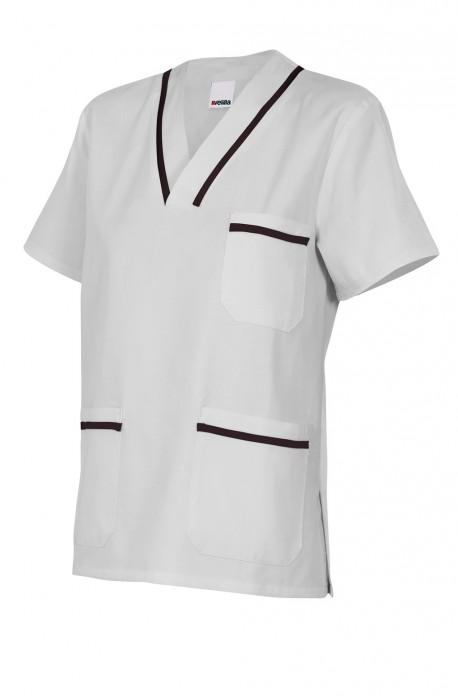 Casaca sanitaria cuello pico con vivo en manga y cuello