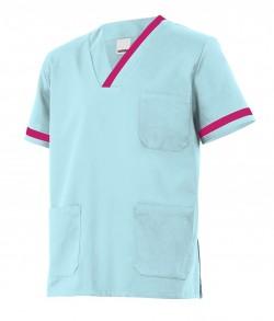 Casaca sanitaria con vivos en cuelloy bolsillos.