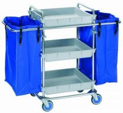 Material geriátrico y artículos para residencia: FedBuy | Carro de lavandería | Tres bandejas | Dos bolsas de 77 litros