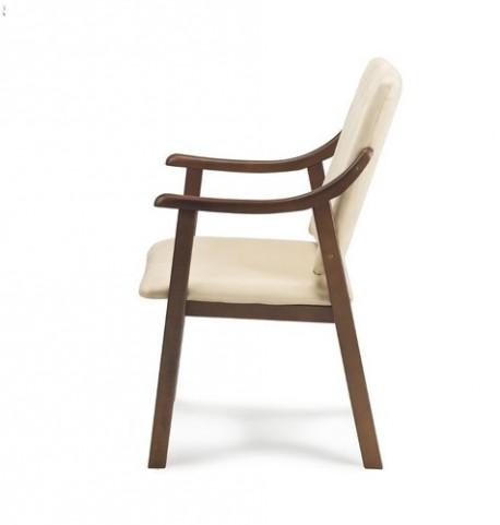 Silla elegante con brazo curvo | Tapicería vinílica | Fabricada en madera | Mobiliario clínico y general: Diresa Device