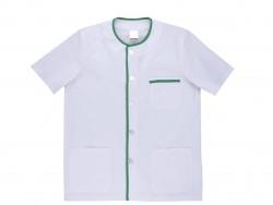 Chaqueta / casaca cuella redondo abotonada. blanca azul o verde con vivo contraste