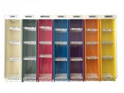 Bandeja de medicación semanal | Distinción por carteles y colores | Compartimentos modulables | Tamaño regulable| Diresa Device