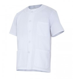 Chaqueta/ casaca cuello redondo abotonada blanca