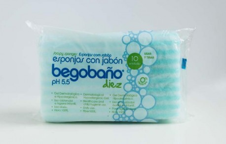 Esponja Jabonosa Begobaño BB-3 | Impregnadas con gel hipoalergénico | Caja de 2700 uds | Diresa Device - FedBuy