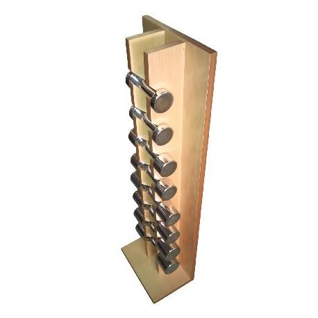 Juego de mancuernas cromadas. Pares de 1 a 4 kg. Incluye mueble. Diresa Device - FedBuy.