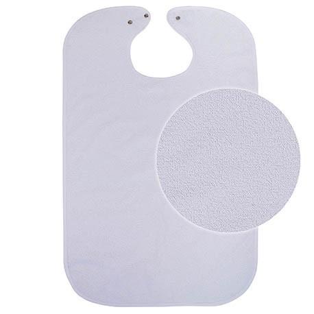 Babero sanitario | Tejido de rizo | Cierre de botón o tira | FedBuy: material geriátrico para instalaciones sanitarias