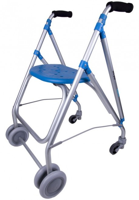 Andador de aluminio   Ligero, con dos ruedas   Asiento transpirable   Color azul   Diresa Device